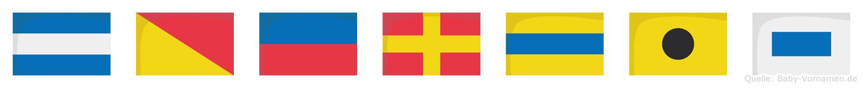 Jördis im Flaggenalphabet