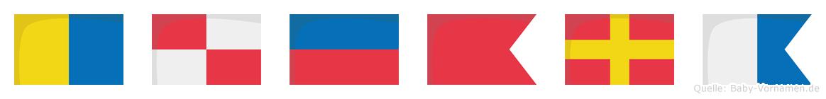 Kübra im Flaggenalphabet
