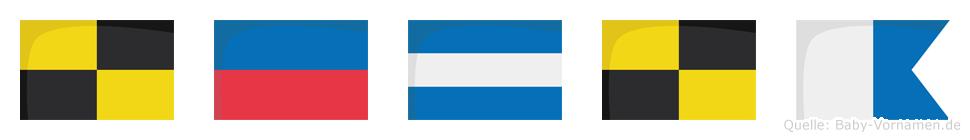 Lejla im Flaggenalphabet