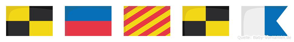 Leyla im Flaggenalphabet