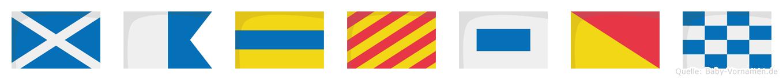 Madyson im Flaggenalphabet