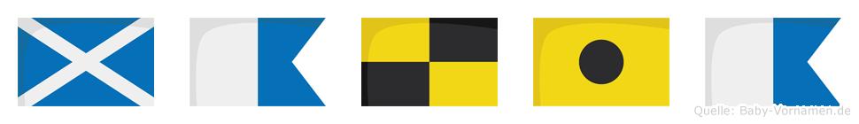 Malia im Flaggenalphabet