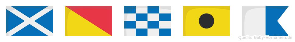 Monia im Flaggenalphabet