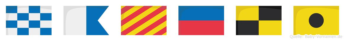 Nayeli im Flaggenalphabet