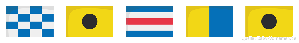 Nicki im Flaggenalphabet