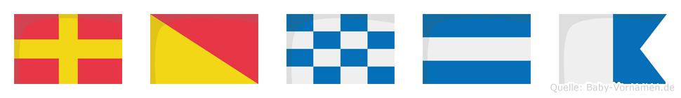 Ronja im Flaggenalphabet