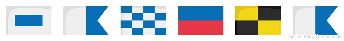 Sanela im Flaggenalphabet
