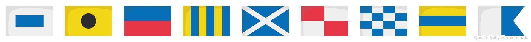 Siegmunda im Flaggenalphabet
