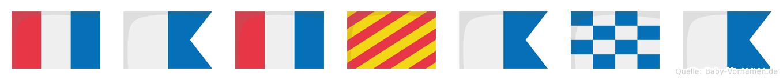 Tatyana im Flaggenalphabet