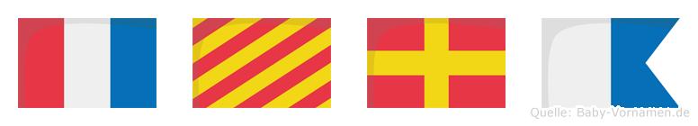 Tyra im Flaggenalphabet