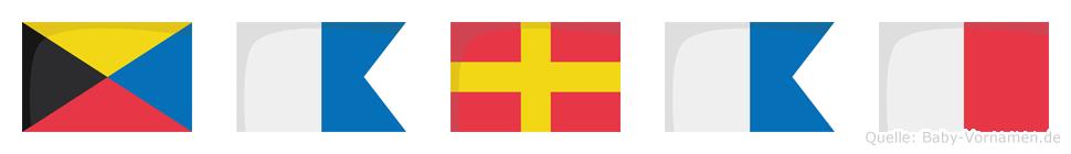Zarah im Flaggenalphabet