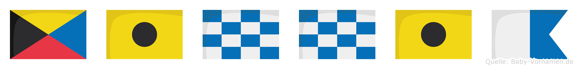 Zinnia im Flaggenalphabet