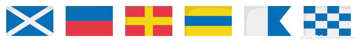 Merdan im Flaggenalphabet