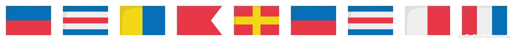 Eckbrecht im Flaggenalphabet