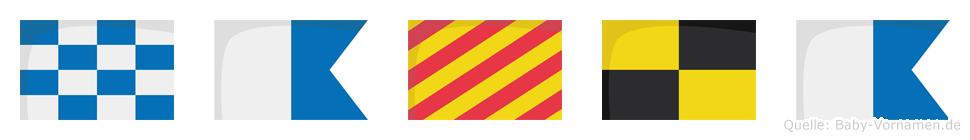 Nayla im Flaggenalphabet