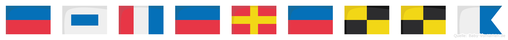 Esterella im Flaggenalphabet
