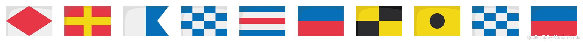 Franceline im Flaggenalphabet