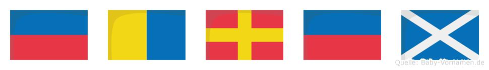 Ekrem im Flaggenalphabet