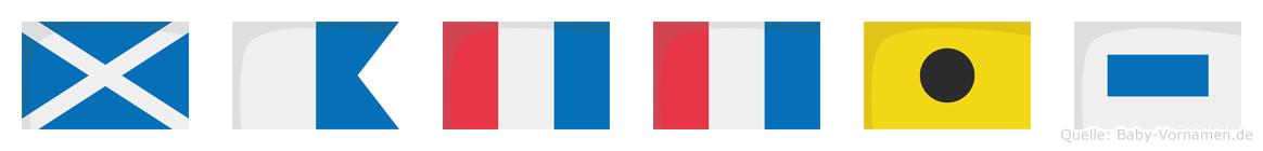 Mattis im Flaggenalphabet