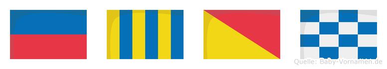 Egon im Flaggenalphabet