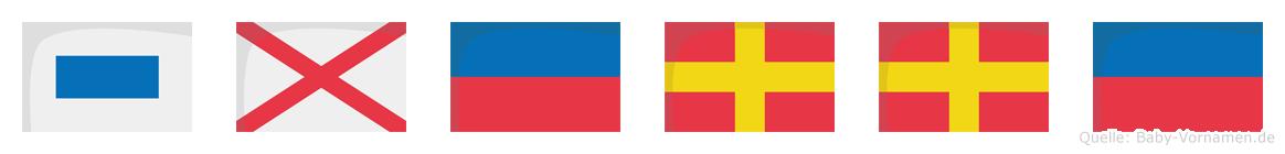 Sverre im Flaggenalphabet