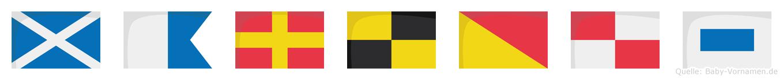 Marlous im Flaggenalphabet