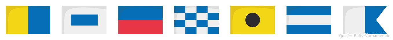 Ksenija im Flaggenalphabet