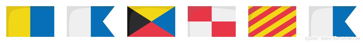 Kazuya im Flaggenalphabet