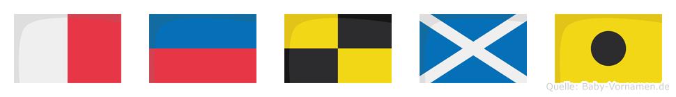 Helmi im Flaggenalphabet