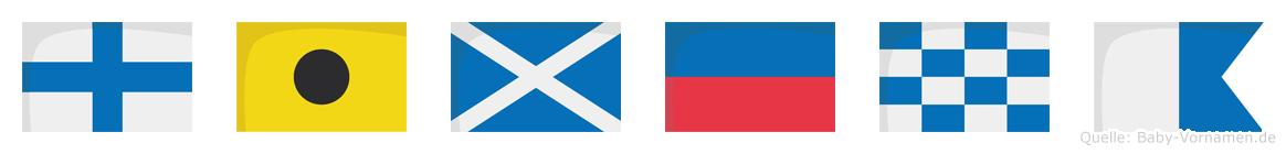Ximena im Flaggenalphabet
