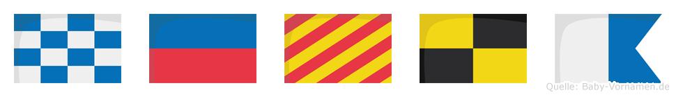 Neyla im Flaggenalphabet