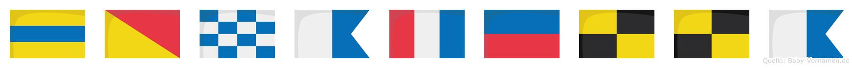 Donatella im Flaggenalphabet