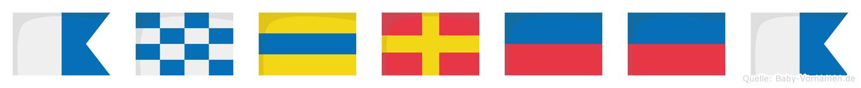 Andreea im Flaggenalphabet