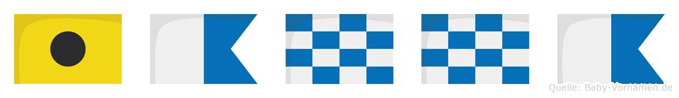 Ianna im Flaggenalphabet