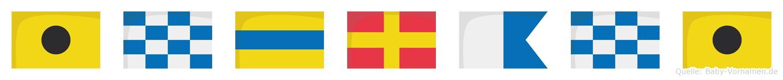 Indrani im Flaggenalphabet