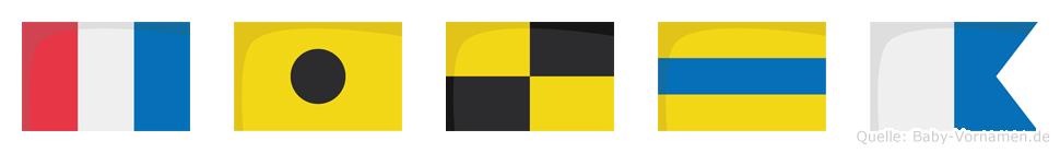 Tilda im Flaggenalphabet