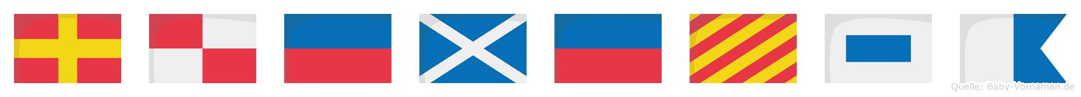 Rümeysa im Flaggenalphabet