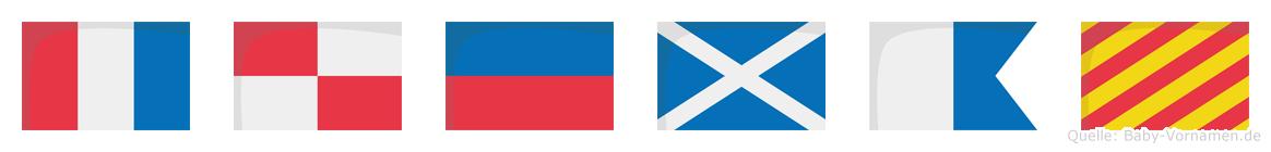Tümay im Flaggenalphabet