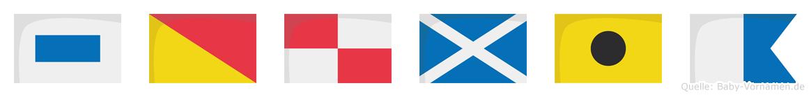 Soumia im Flaggenalphabet