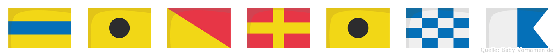 Diorina im Flaggenalphabet