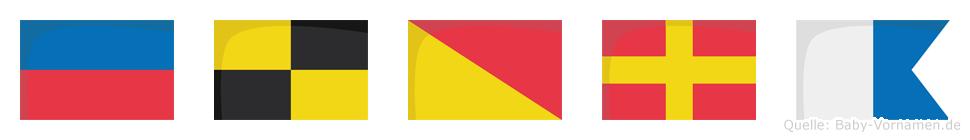 Elora im Flaggenalphabet