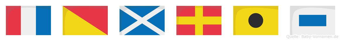 Tomris im Flaggenalphabet
