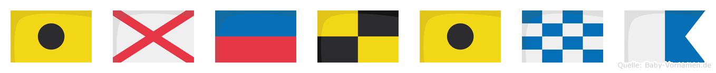 Ivelina im Flaggenalphabet