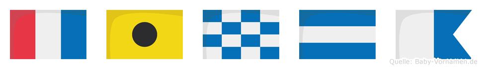 Tinja im Flaggenalphabet