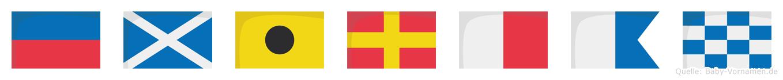 Emirhan im Flaggenalphabet