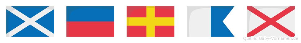 Merav im Flaggenalphabet