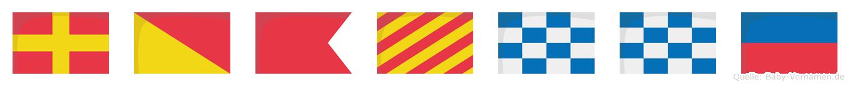 Robynne im Flaggenalphabet