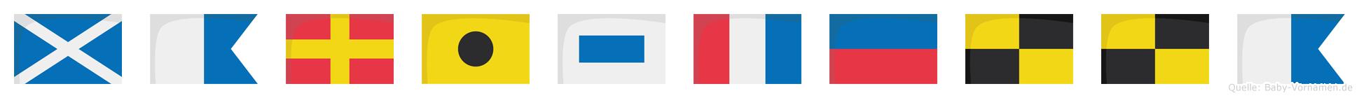 Maristella im Flaggenalphabet
