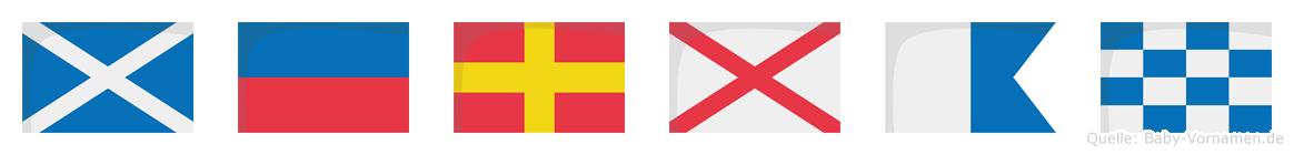 Mervan im Flaggenalphabet