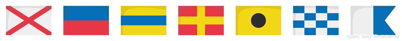 Vedrina im Flaggenalphabet